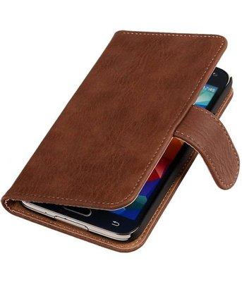 Hout Bruin Samsung Galaxy S5 (Plus) Book Wallet Case Hoesje