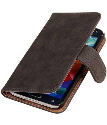 Hout Grijs Hoesje voor Samsung Galaxy S5 (Plus) Book Wallet Case