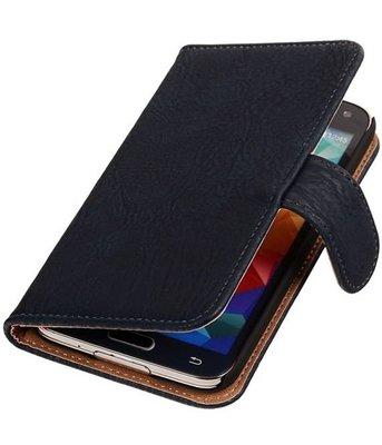 Hout Donker Blauw Samsung Galaxy S5 (Plus) Book Wallet Case Hoesje
