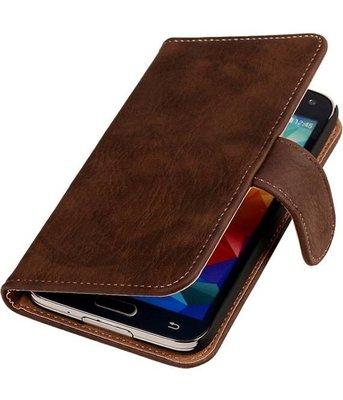 Hout Donker Bruin Hoesje voor Samsung Galaxy S5 (Plus) Book Wallet Case