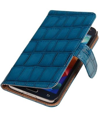 Croco Blauw Hoesje voor Samsung Galaxy S5 Mini Book/Wallet Case