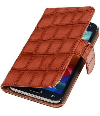 Croco Bruin Hoesje voor Samsung Galaxy S5 Mini Book/Wallet Case