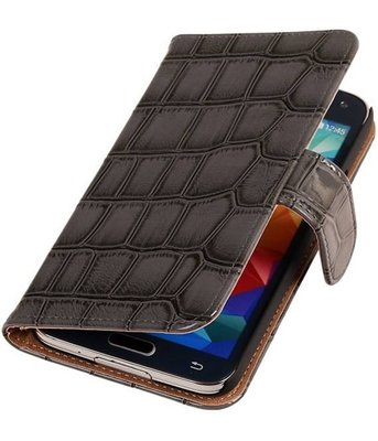 Croco Grijs Hoesje voor Samsung Galaxy S5 Mini Book/Wallet Case