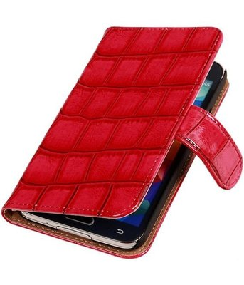 Croco Roze Hoesje voor Samsung Galaxy S5 Mini Book/Wallet Case