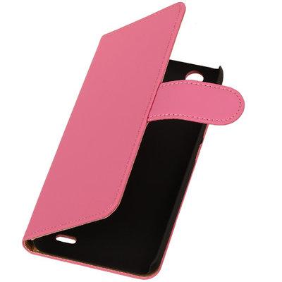 Hoesje voor Huawei Ascend G630 Effen Booktype Wallet Roze