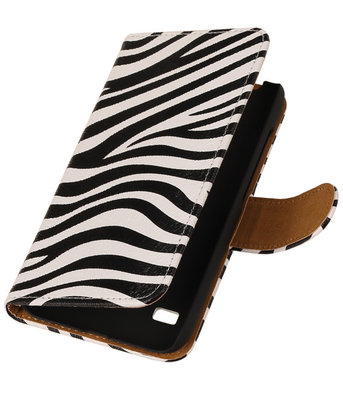 Zebra Hoesje voor Huawei Ascend Y550 Book/Wallet Case/Cover