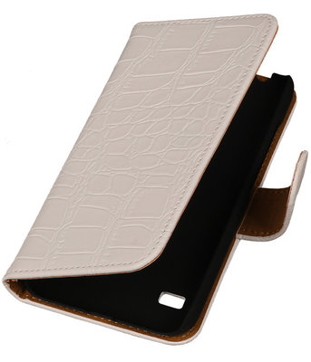 Croco Wit Hoesje voor Huawei Ascend Y550 Book/Wallet Case/Cover