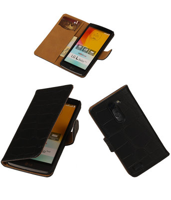 Croco Zwart LG L Bello Book/Wallet Case/Cover