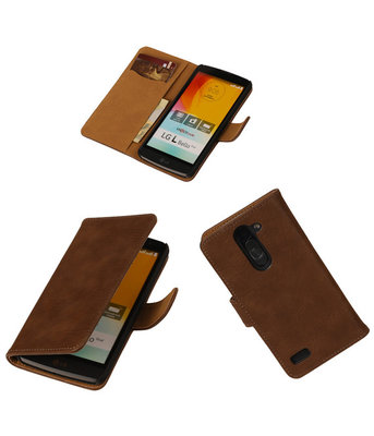 Hout Bruin Hoesje voor LG L Bello Book Wallet Case