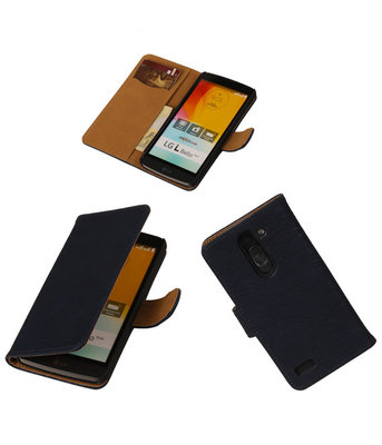 Hout Donker Blauw Hoesje voor LG L Bello Book Wallet Case