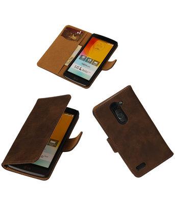Hout Donker Bruin Hoesje voor LG L Bello Book Wallet Case