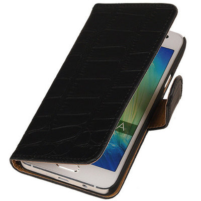 Croco Zwart Hoesje voor Huawei Ascend Y550 Book/Wallet Case/Cover