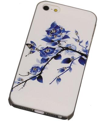 3D Hardcase met Diamant iPhone 5/5S Blauw-Roos