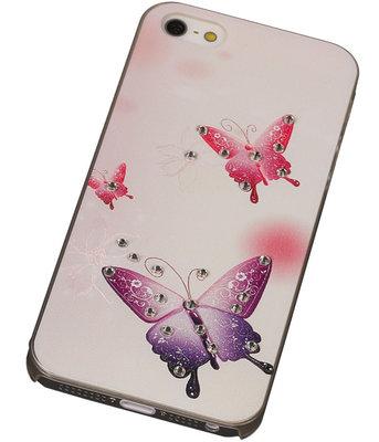 3D Hardcase met Diamant iPhone 5/5S Vlinders