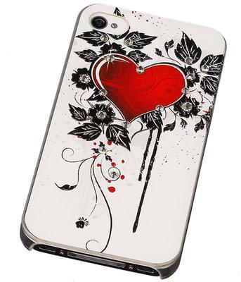 3D Hardcase met Diamant iPhone 4/4S Hand/Bloem