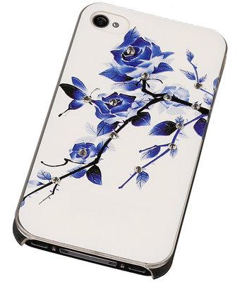 3D Hardcase met Diamant iPhone 4/4S Blauw Roos