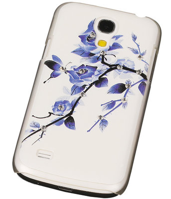 3D Hardcase met Diamant Galaxy S4 Mini I9190 Blauw Roos