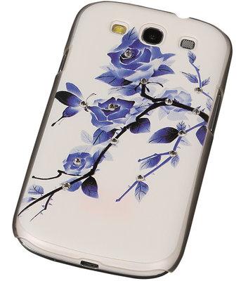 3D Hardcase met Diamant Galaxy S3 I9300 Blauw Roos