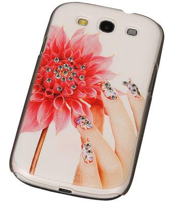 3D Hardcase met Diamant Galaxy S3 I9300 Hand Bloem