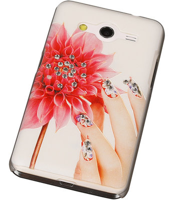 3D Hardcase met Diamant Galaxy Core 2 G355H Hand Bloem