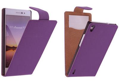 Paars Effen Classic Flipcase Hoesje voor Huawei Ascend P7