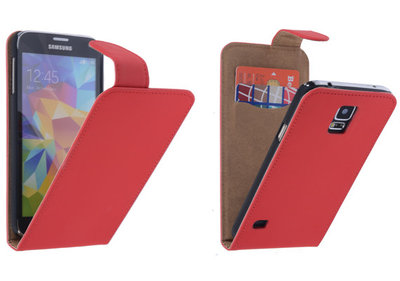 Rood Effen Classic Flipcase Hoesje voor Samsung Galaxy S5