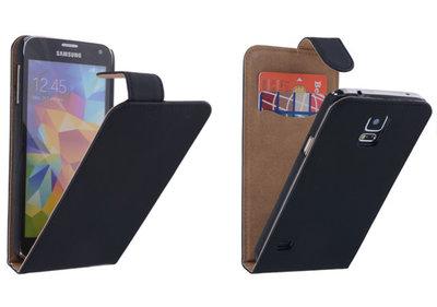 Zwart Effen Classic Flipcase Hoesje Samsung Galaxy S5