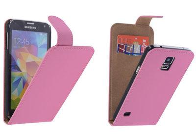 Roze Effen Classic Flipcase Hoesje voor Samsung Galaxy S5
