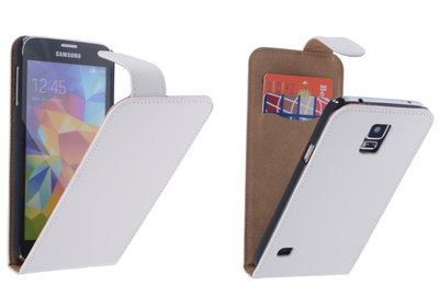 Wit Effen Classic Flipcase Hoesje voor Samsung Galaxy S5