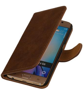 Hout Bruin Hoesje voor Samsung Galaxy S6 Book Wallet Case