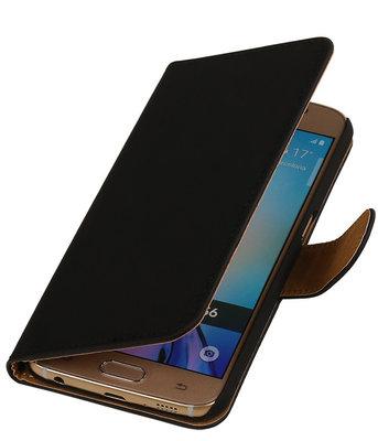 Hoesje voor Samsung Galaxy S6 Effen Booktype Wallet Zwart