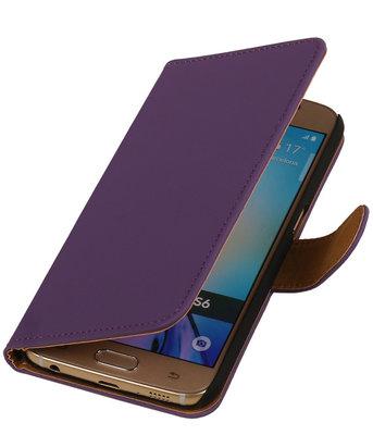 Hoesje voor Samsung Galaxy S6 Effen Booktype Wallet Paars