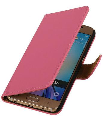 Hoesje voor Samsung Galaxy S6 Effen Booktype Wallet Roze