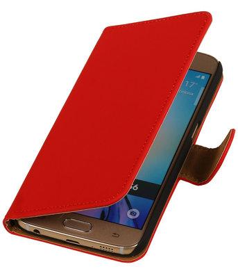 Hoesje voor Samsung Galaxy S6 Effen Booktype Wallet Rood
