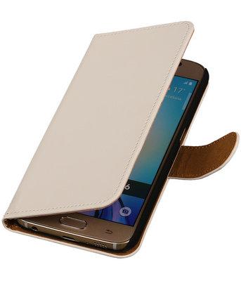 Hoesje voor Samsung Galaxy S6 Effen Booktype Wallet Wit
