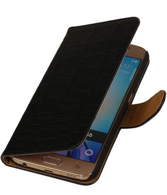 Hoesje voor Samsung Galaxy S6 Croco Booktype Wallet Zwart