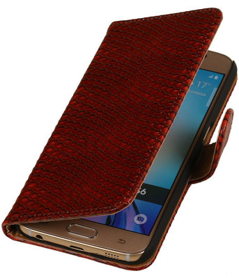 Slang Rood Hoesje voor Samsung Galaxy S6 Book Wallet Case