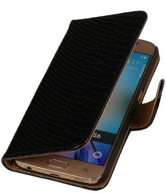 Slang Zwart Hoesje voor Samsung Galaxy S6 Book Wallet Case