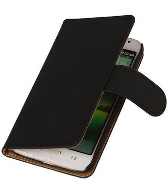 Hoesje voor Huawei Ascend G630 Effen Booktype Wallet Zwart