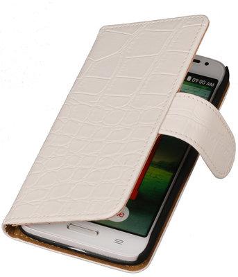 Hoesje voor LG G2 Crocodile Booktype Wallet Wit