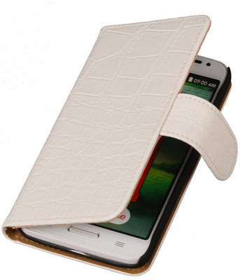 LG L70 Crocodile Booktype Wallet Hoesje Wit
