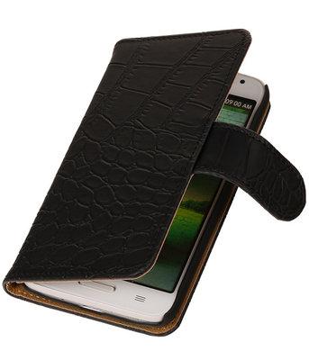 Hoesje voor Motorola Moto G (2nd gen) Crocodile Booktype Wallet Zwart