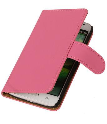 Hoesje voor Motorola Moto G (2nd gen) Effen Booktype Wallet Roze