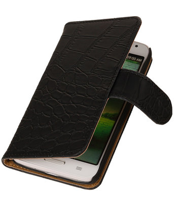 Hoesje voor Samsung Galaxy S Advance I9070 Crocodile Booktype Wallet Zwart
