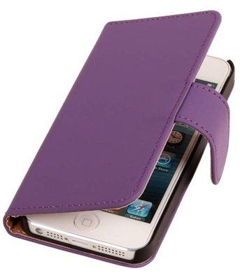 Paars Apple iPhone 4 4s Book Wallet Case Hoesje