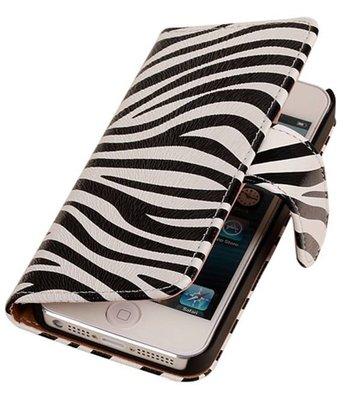 Zebra Hoesje voor Apple iPhone 4 4s Book Wallet Case