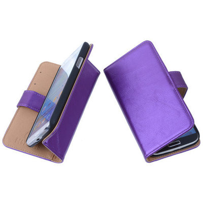 PU Leder Lila Hoesje voor Samsung Galaxy S4 Mini Book/Wallet Case/Cover