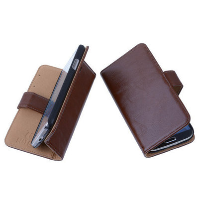 PU Leder Bruin Hoesje voor Samsung Galaxy S4 Mini Book/Wallet Case/Cover