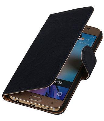Echt Leer Bookcase Donker Blauw - Hoesje voor Samsung Galaxy A5 2015