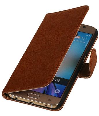 Echt Leer Bookcase Bruin - Hoesje voor Samsung Galaxy A7 2015